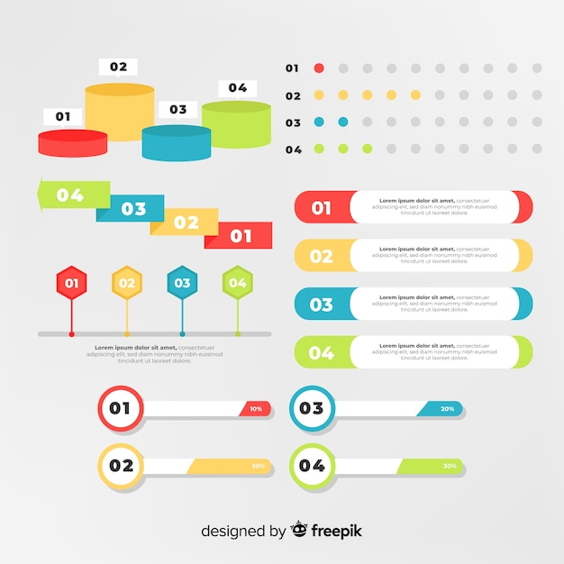 Flat infographic element pack Free Vector