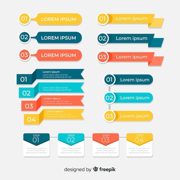 Flat infographic element set Free Vector