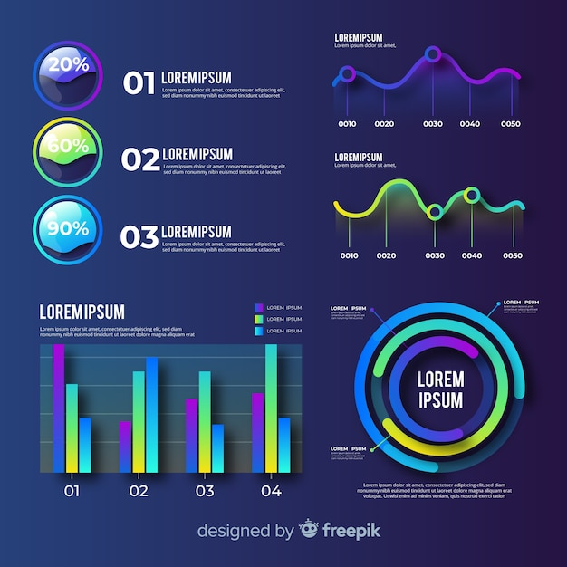 Flat infographic element set Free Vector