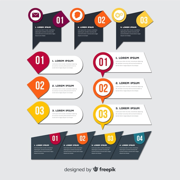 Flat infographic elements collection Free Vector
