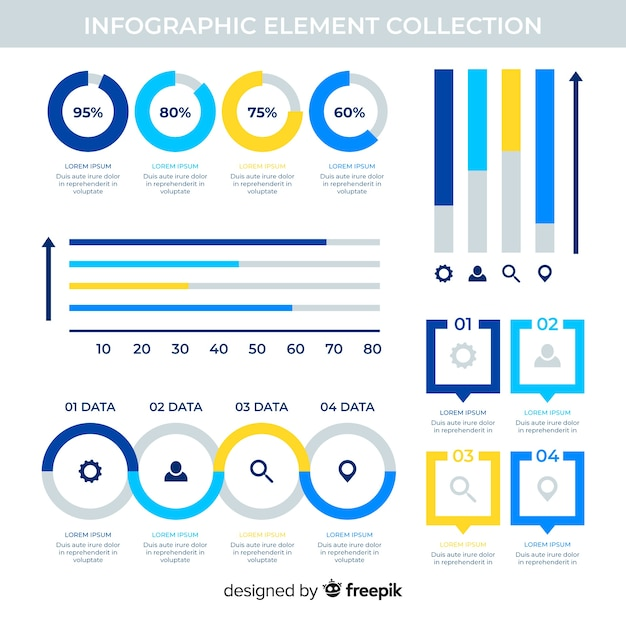 Flat infographic elements with stats collection Free Vector