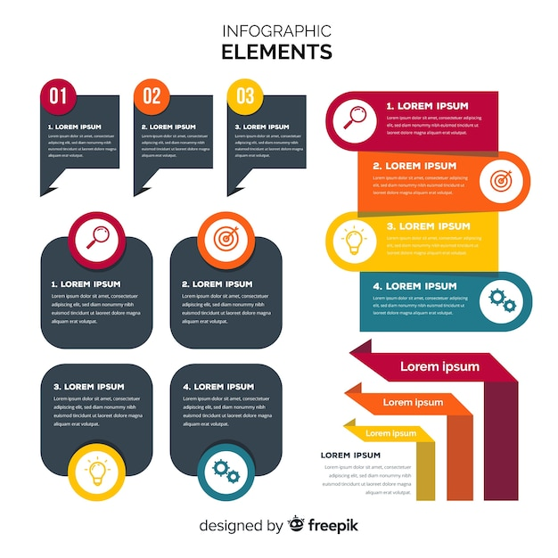 Flat infographic elements Free Vector