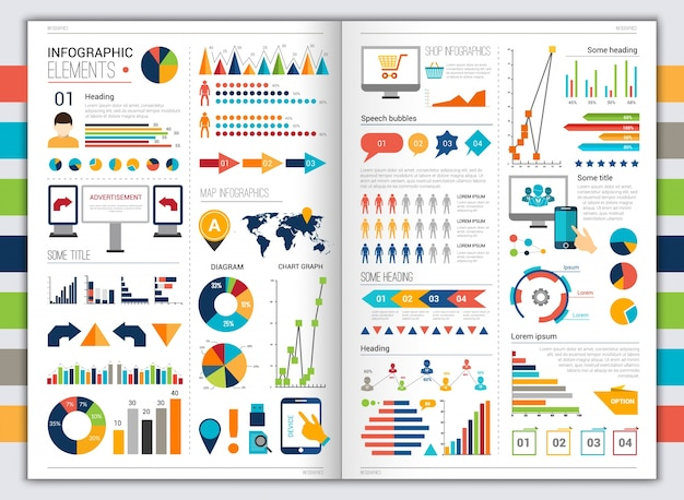 Flat infographic set Free Vector
