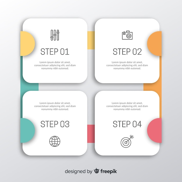 Flat infographic step Free Vector