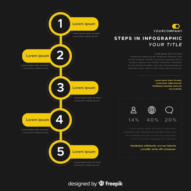 Flat infographic steps background Free Vector