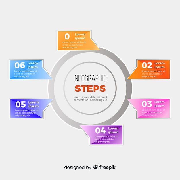Flat infographic steps template Free Vector