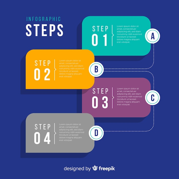 Flat infographic steps Free Vector