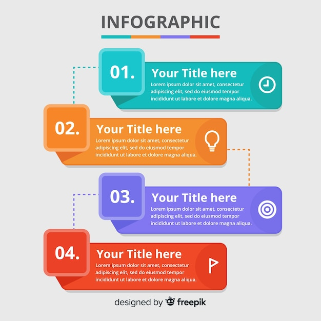 Flat infographic template background Free Vector