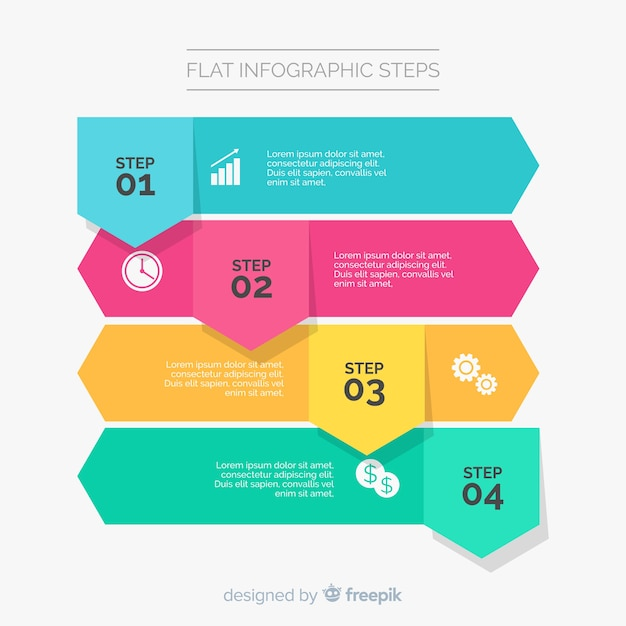 Flat infographic template with steps Free Vector