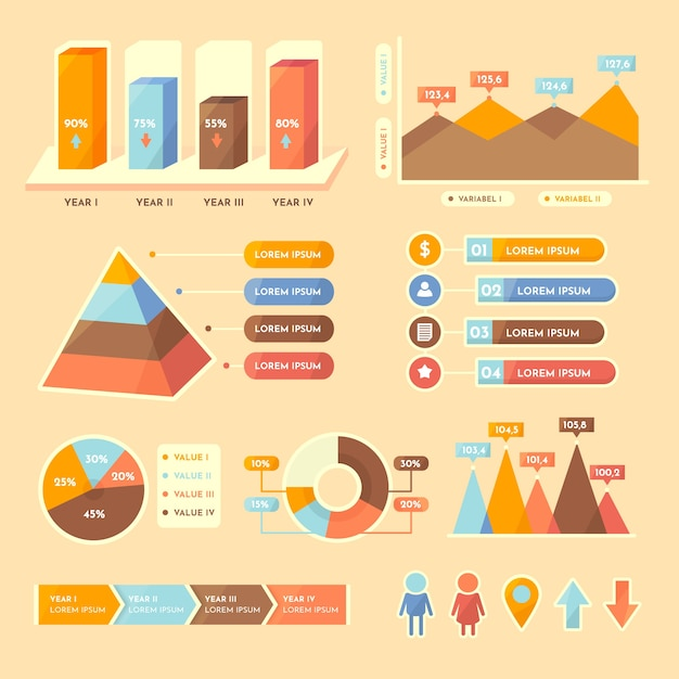 Flat infographic with retro colors Free Vector