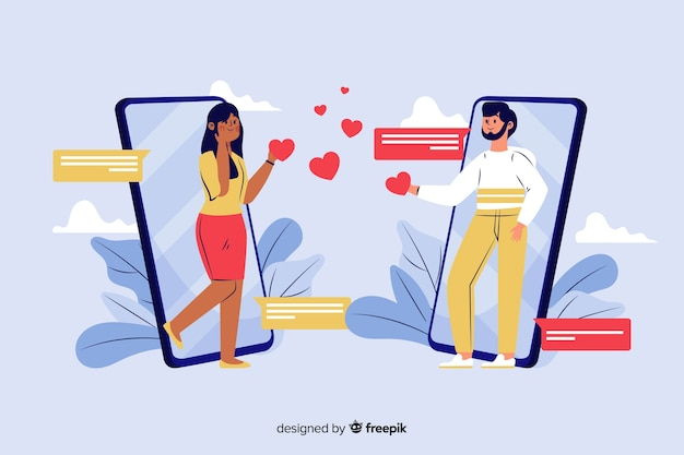 Flat infographics of man and woman acquaintance in social network Free Vector