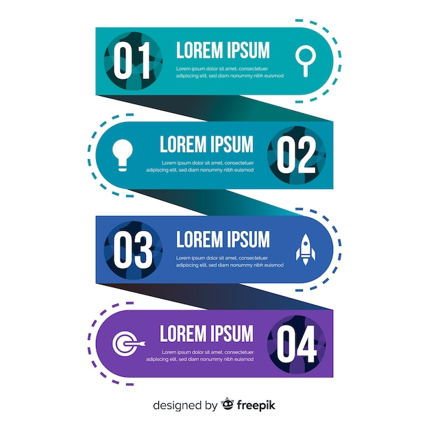 Flat infographics steps collection Free Vector