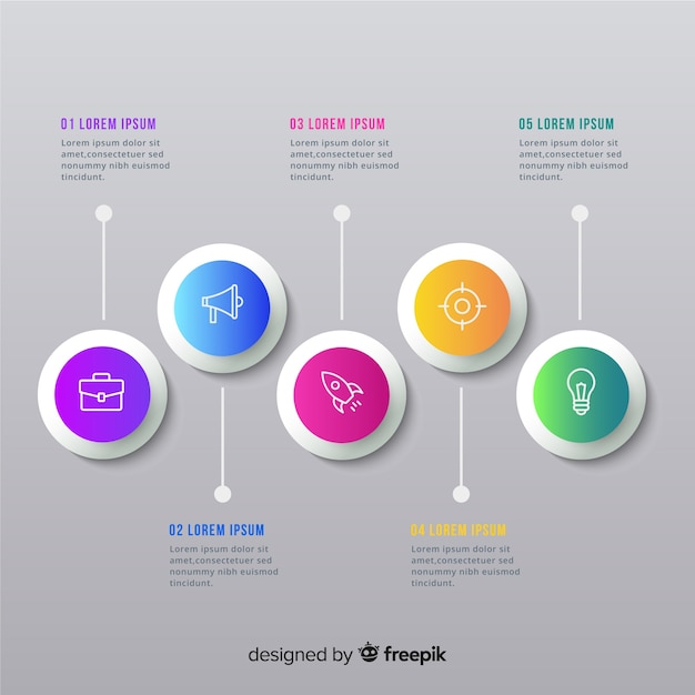 Flat infographics of time line Free Vector