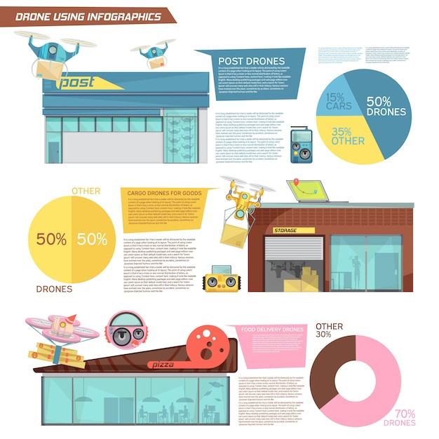 Flat infographics with information about using cargo and food delivery drones Free Vector