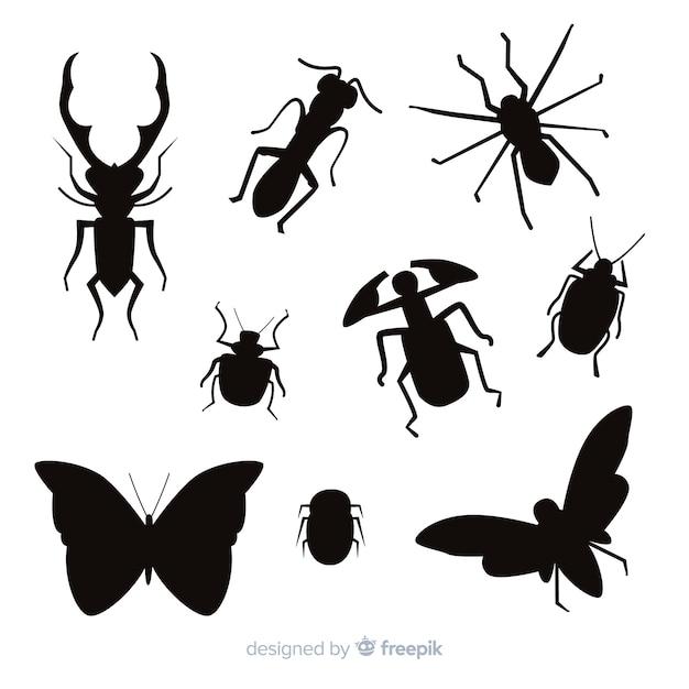 平らな昆虫シルエットコレクション 無料ベクター