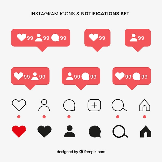Flat instagram icons and notifications set Free Vector