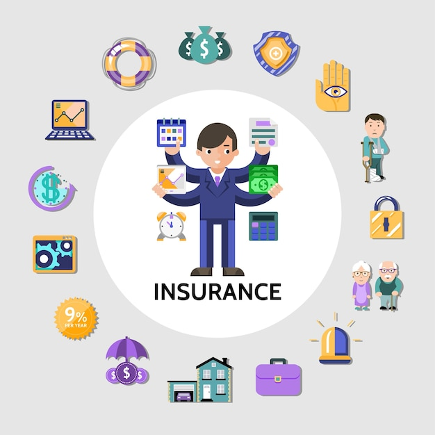 Flat insurance round concept Free Vector