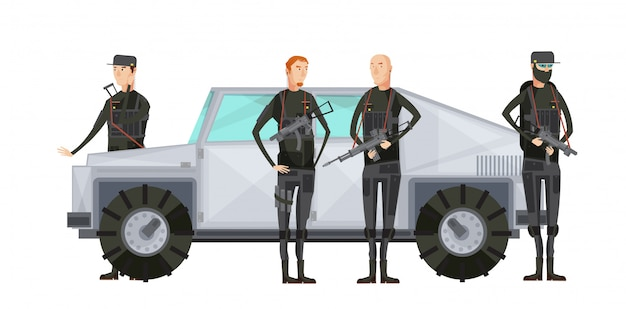Flat intelligence agency colored composition with special services workers stand near the armored car vector illustration Premium Vector