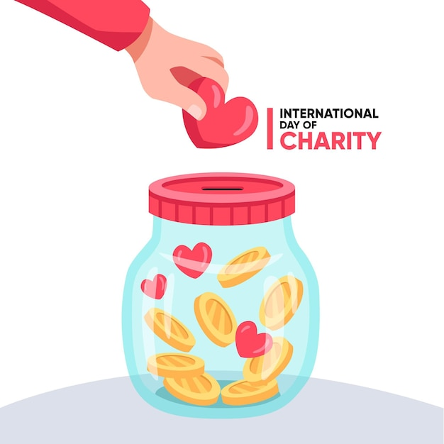 Flat international day of charity Premium Vector