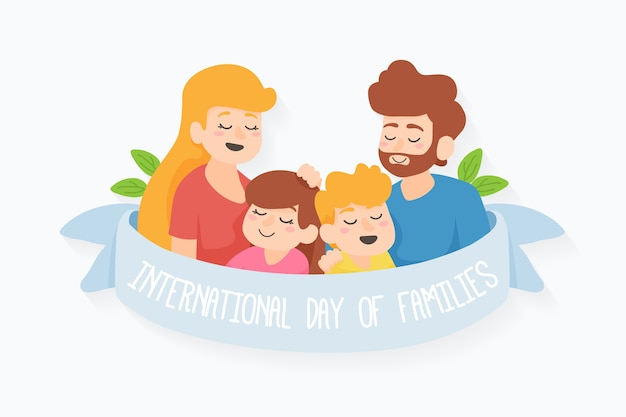 Flat international day of families Free Vector