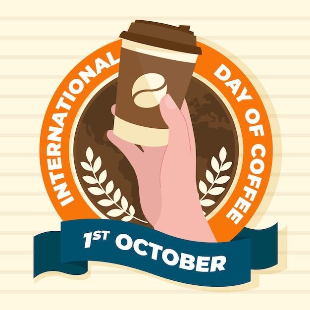 Плоский международный день кофе Бесплатные векторы