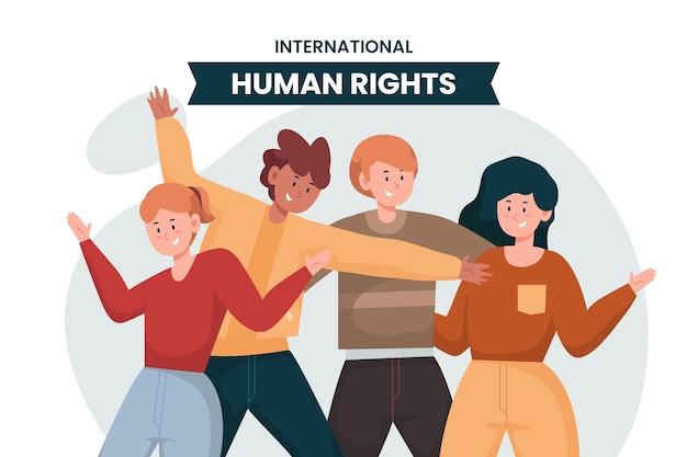 さまざまな人々とのフラットな国際人権デー Premiumベクター
