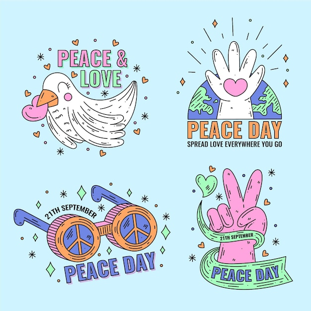 Flat international day of peace labels Free Vector