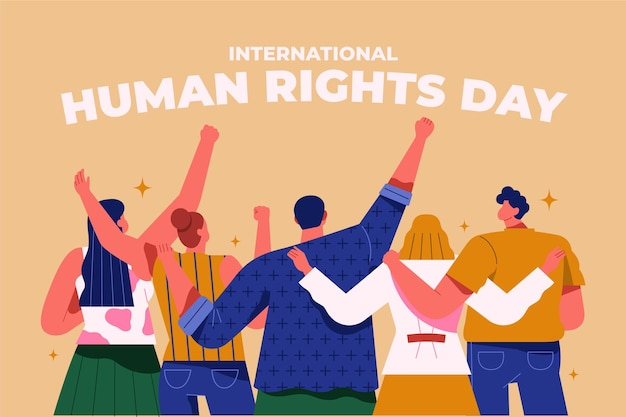 Flat international human rights day Free Vector