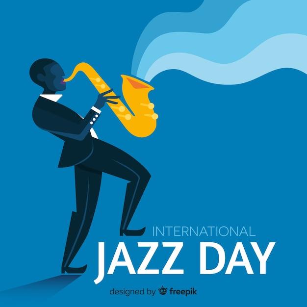 Плоский международный фон джазового дня Бесплатные векторы
