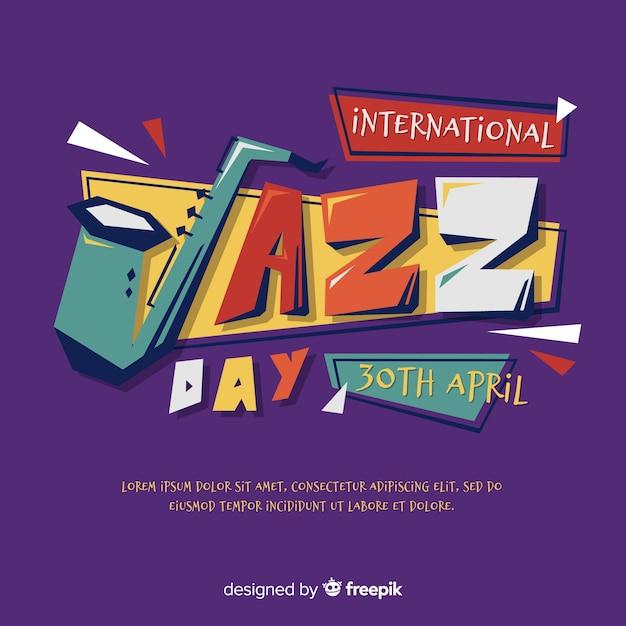Flat international jazz day background Free Vector