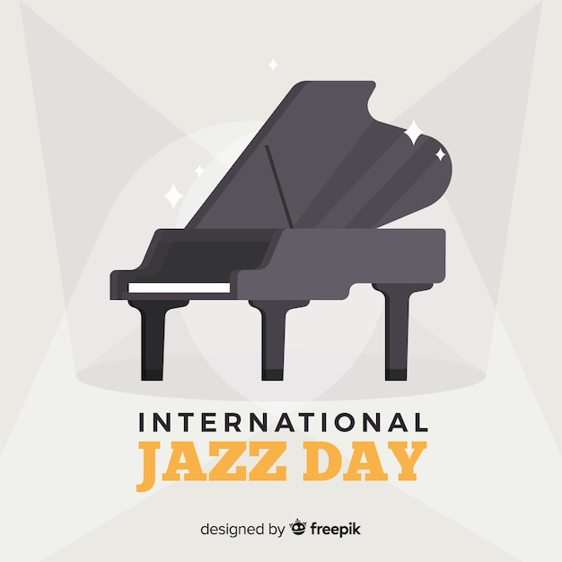 Flat international jazz day background Free Vector