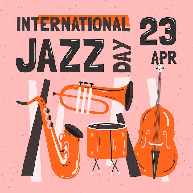 Концепция международного джазового дня Бесплатные векторы