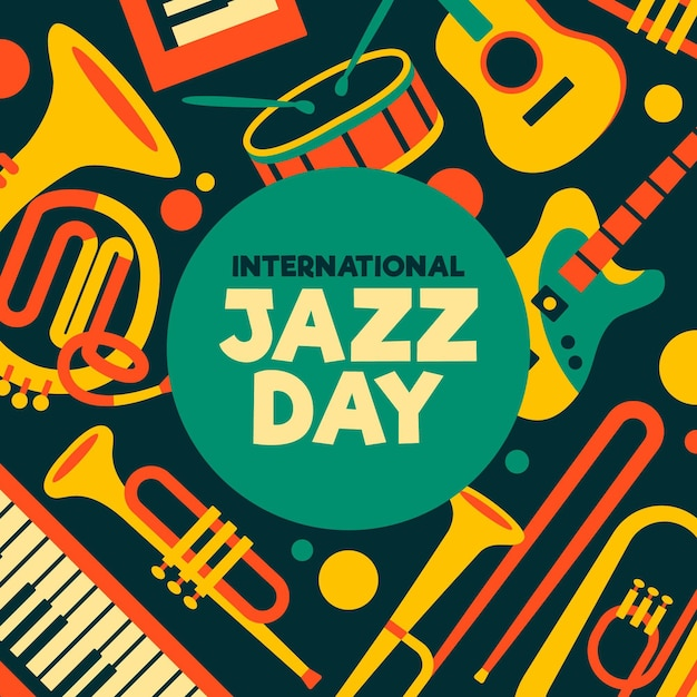 Flat international jazz day illustration Free Vector