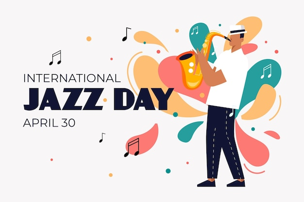 Flat international jazz day illustration Free Vector