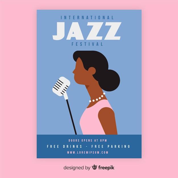 Flat international jazz day poster template Free Vector