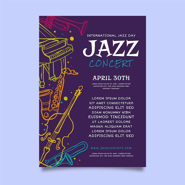 Flat international jazz day poster template Free Vector