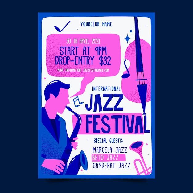 플랫 국제 재즈 데이 포스터 템플릿 무료 벡터