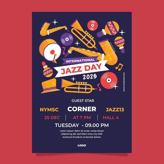 Flat international jazz day vertical poster template Premium Vector