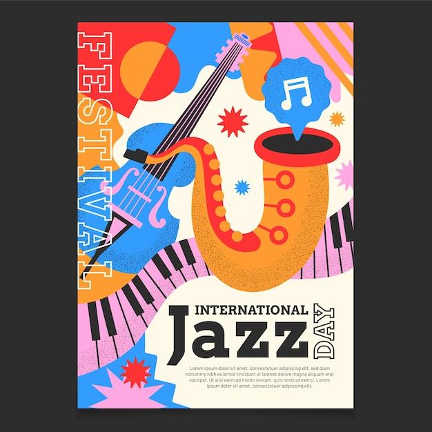 Плоский шаблон вертикального плаката международного дня джаза Бесплатные векторы