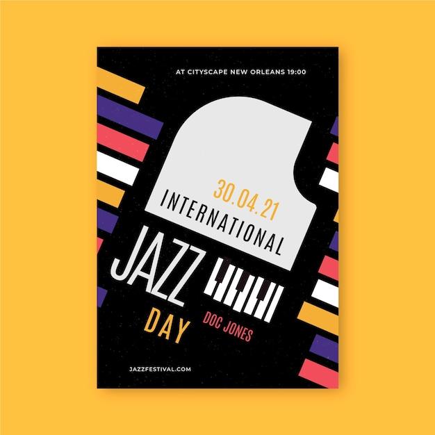 Плоский шаблон вертикального плаката международного дня джаза Premium векторы
