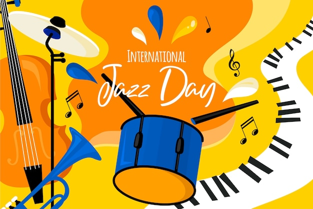 Flat international jazz day Free Vector
