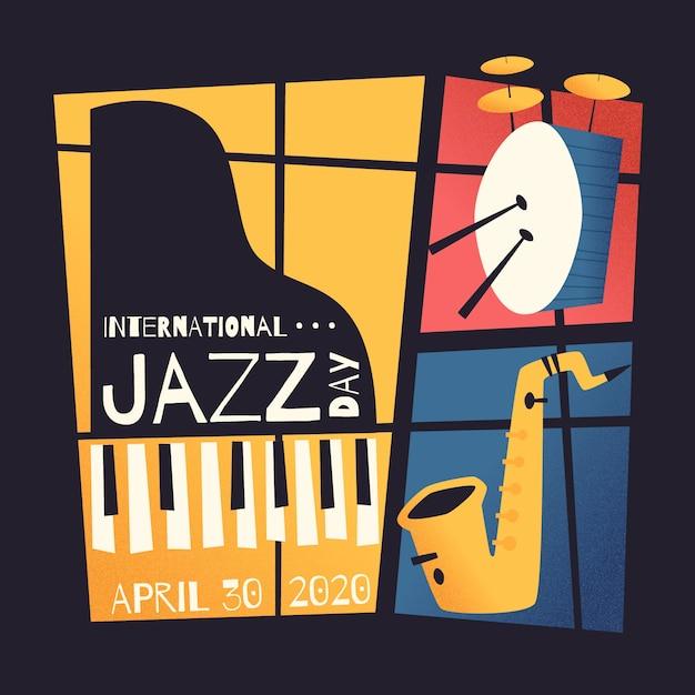 Плоский международный день джаза Бесплатные векторы