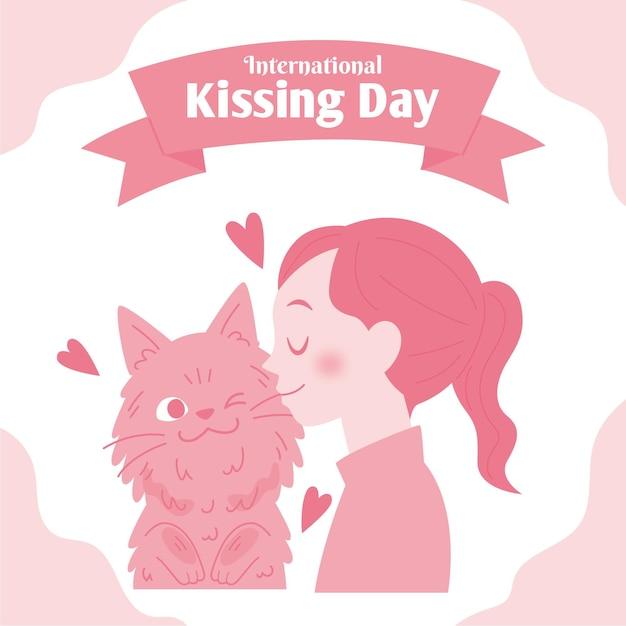 여자와 고양이와 평면 국제 키스의 날 그림 무료 벡터