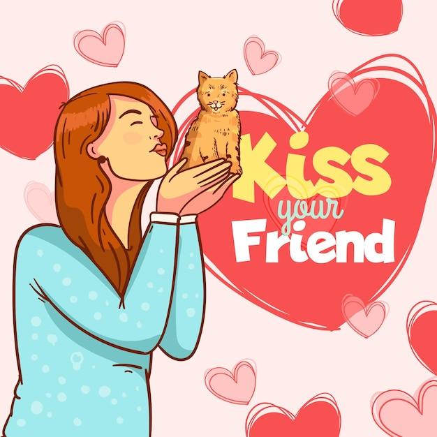 Piatto internazionale baciare giorno illustrazione con donna e gatto Vettore gratuito