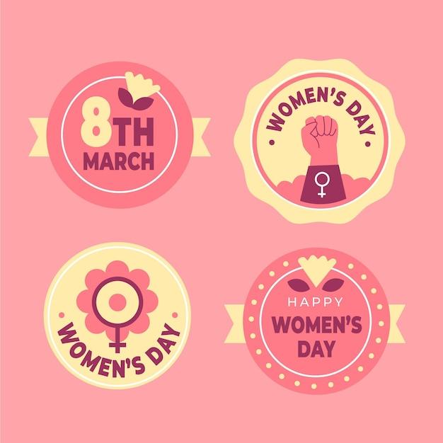 Плоская коллекция значков международного женского дня Бесплатные векторы