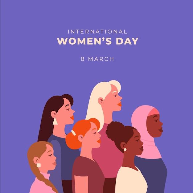 Плоский международный женский день иллюстрация Бесплатные векторы