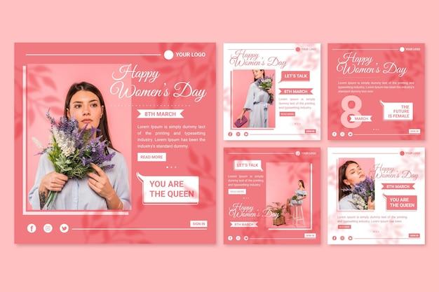 Raccolta di post di instagram per la giornata internazionale della donna piatta Vettore gratuito