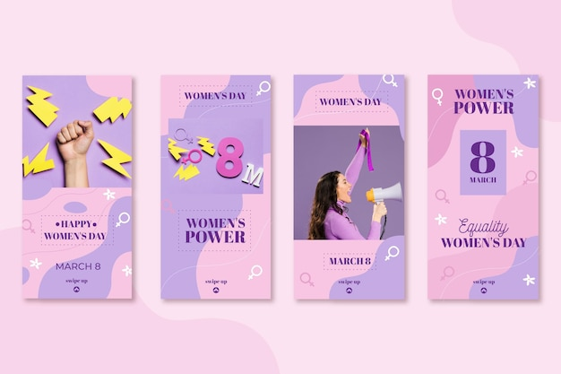 Flat international women's day instagram stories collection Free Vector