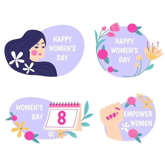 Flat international women's day label collection Premium Vector