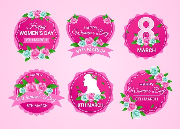 Плоские этикетки международного женского дня Бесплатные векторы